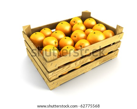 wooden crate full of oranges. Isolated 3d rendering