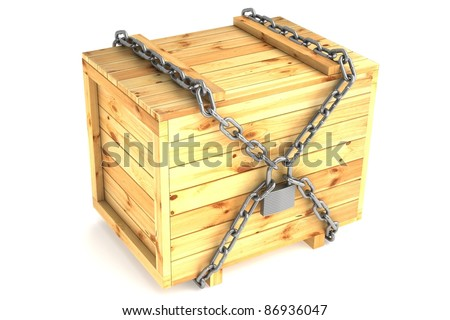 wooden crate is closed on the lock