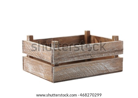 Wooden crate isolated on a white  #468270299