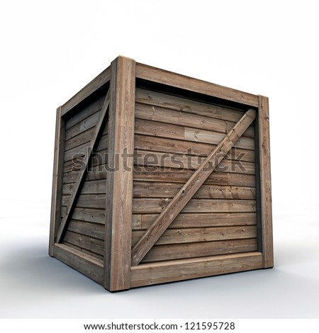 wooden crate isolated on white background