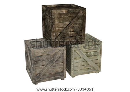 Wooden crate isolated over a white background. This is a 3D rendered picture.