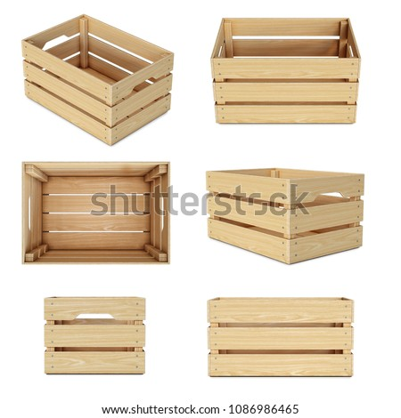 Wooden crates from various views isolated on white background 3d rendering