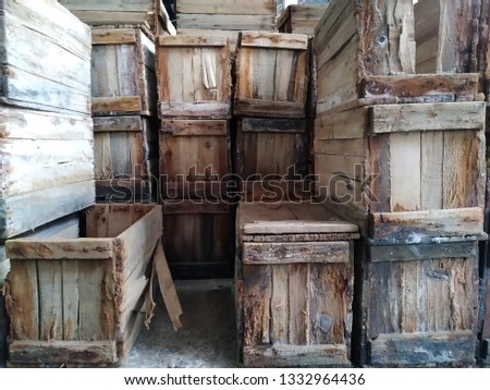 wooden crates in market #1332964436