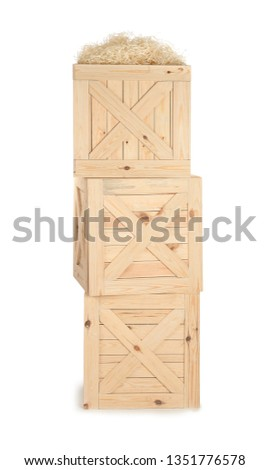 Wooden crates on white background. Shipping containers #1351776578