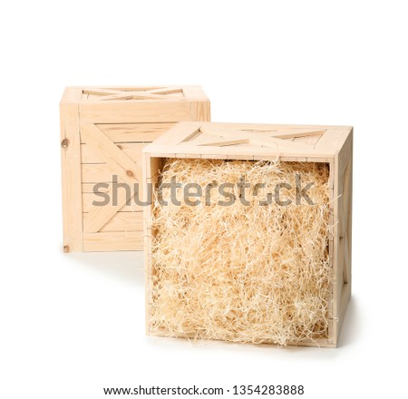 Wooden crates on white background. Shipping containers #1354283888