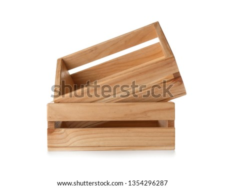 Wooden crates on white background. Shipping containers #1354296287