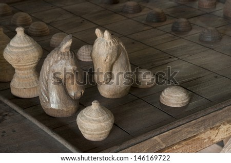 Wooden craved chess
