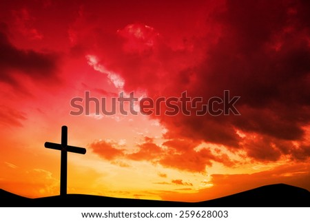 Wooden cross against sky and mountains #259628003