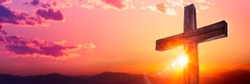 Wooden Cross At Sunrise With Mountain Landscape - Crucifixion And Resurrection Of Jesus Christ