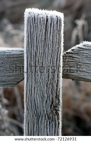 wooden cross covered with frost