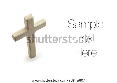 Wooden Cross, isolated on white background, copy space - stock photo