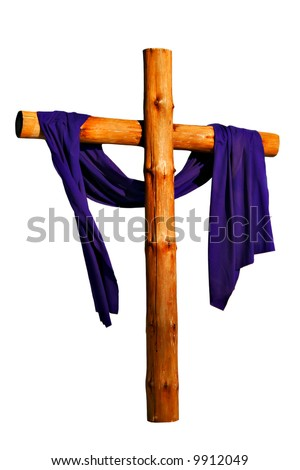 Wooden Cross with Purple Cloth Isolated