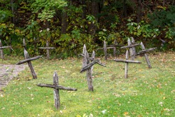Wooden crosses marking the site of the first catholic native cemetery in North America, located in front of the Maison des Jésuites-de-Sillery, Sillery area, Quebec City, Quebec, Canada