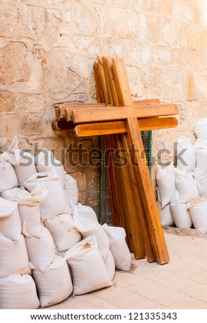 Wooden crosses near the Holy Sepulchre in Jerusalem - stock photo