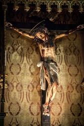 Wooden crucifix of jesus inside a church