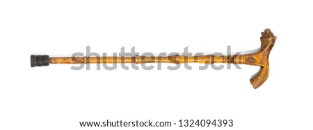 wooden crutch for walking on a white isolated background #1324094393