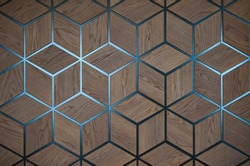 wooden cube background wall. wooden blocks backdrop. volumetric drawing of cubes. Set of the identical cubes forming a uniform plane.