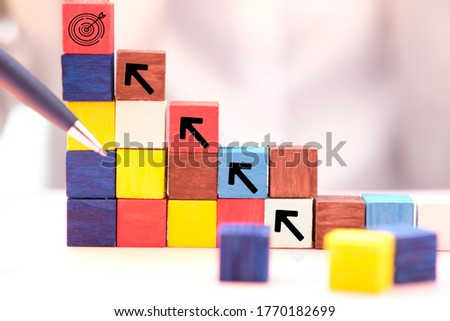 Wooden cube block with new normal word and business icon, business with social distancing personal hygiene  icon, Business concept growth success process. Photo stock ©