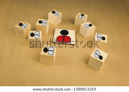 wooden cubes in the form of bosses and subordinates, personnel subordination on a blue background #1388853269