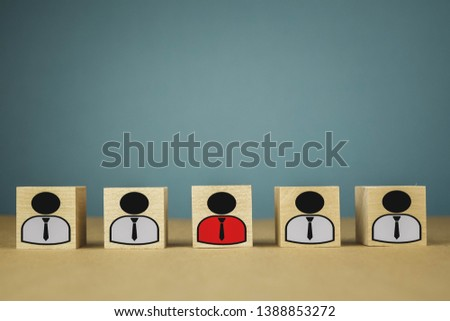 wooden cubes in the form of bosses and subordinates, personnel subordination on a blue background #1388853272