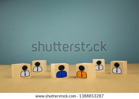wooden cubes in the form of bosses and subordinates, personnel subordination on a blue background #1388853287