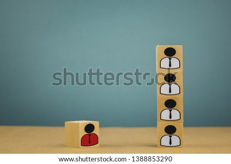 wooden cubes in the form of bosses and subordinates, personnel subordination on a blue background #1388853290