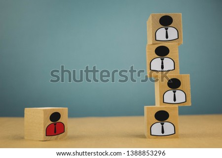 wooden cubes in the form of bosses and subordinates, personnel subordination on a blue background #1388853296