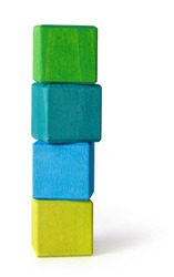 Wooden cubes tower on white background