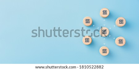 Wooden cubes with franchise icons, Franchise Business Marketing System concept Stockfoto ©