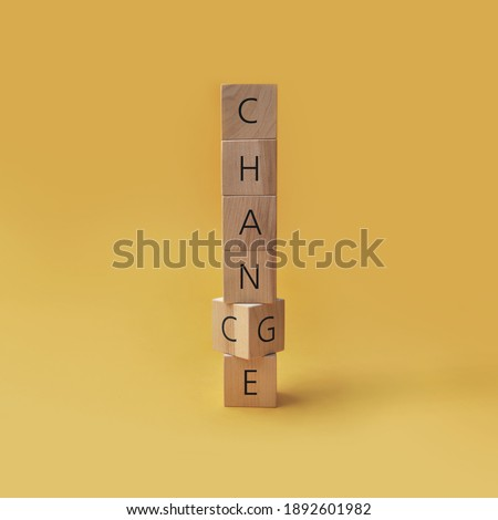 Wooden cubes with inscriptions: chance and change. Changes and new chances in a person's life Stock fotó ©