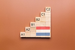 Wooden cubes with language levels, concept of learning and improvement. Dutch language
