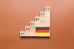 Wooden cubes with language levels, concept of learning and improvement. German language