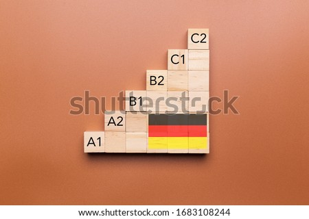 Wooden cubes with language levels, concept of learning and improvement. German language Photo stock ©