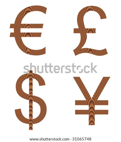 currency signs. Wooden currency signs