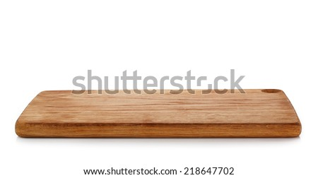 wooden cutting board isolated on a white background Stock foto ©