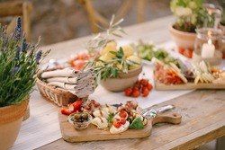 Wooden cutting board with delicacies and a bowl of olives on the table with lemons, a flower in a pot and a basket of napkins.