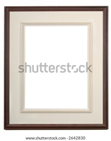 wooden dark picture frame on a white wall