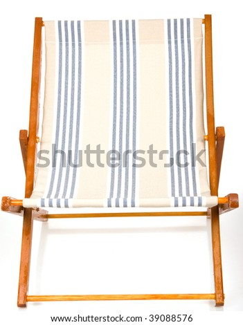 Wooden deck chair with striped canvas, on white background