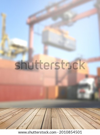 Wooden deck stage in a port. For products and things. Empty rustic wood floor, platform with blurred background and copy space. Graphic resource for design and mockup. ストックフォト ©