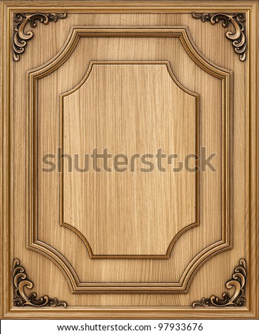 wooden decorative panel with golden frames.