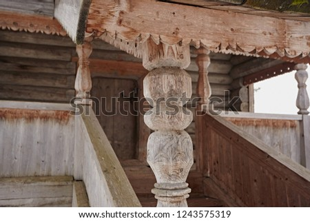 Wooden decorative pillar to support the roof. #1243575319