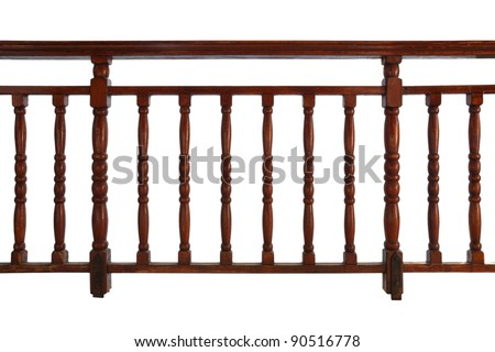 wooden decorative railing isolated on white background