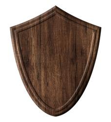 Wooden defense protection shield board made of dark natural wood