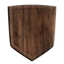 Wooden defense shield made of dark natural wood