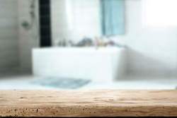 wooden desk and bathroom