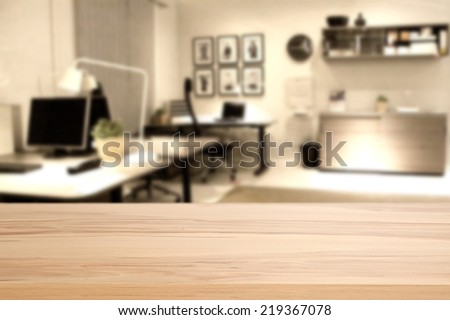wooden desk of office