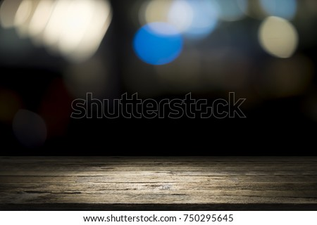Wooden desk or wooden floor on bokeh background. Empty wooden desk to present and show product #750295645