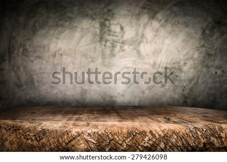 Wooden desk platform and polished concrete surface background Stock foto ©