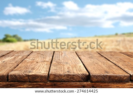 wooden desk top and sky  #274614425