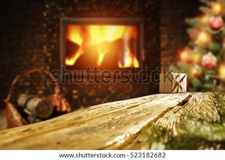 wooden desk xmas tree and fireplace with christmas tree  #523182682